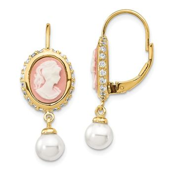 Gold-plated Sterling Silver Glass Pearl/Cameo/CZ Leverback Earrings