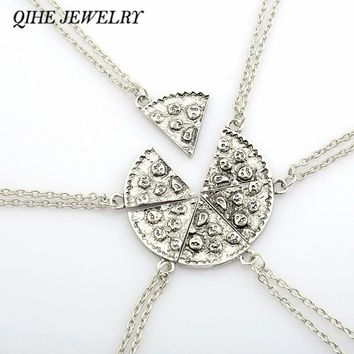 QIHE JEWELRY 6PCS Antique Silver Pizza Necklace Clavicle Chain Best Friend BFF Friendship  Food Jewelry Christmas Gift
