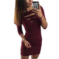 Spring Women Sexy Sheath Nightclub Mini Slim O-neck Dress Three Quarter Sleeve Bandage Party Cut Out Pencil Femal Vestidos LX311