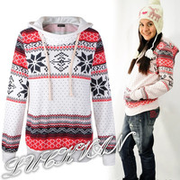 Women Lady Christmas Winter Hoodie Sweatshirt Jumper Sweater Hooded Pullover Top = 1837933636