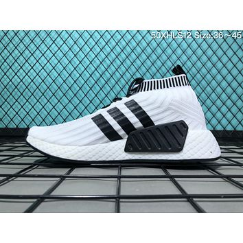 A047 Adidas NMD Socks Knit Fabric Fish Scales Super Soft Bottom Fashion Trend Casual Running Shoes White