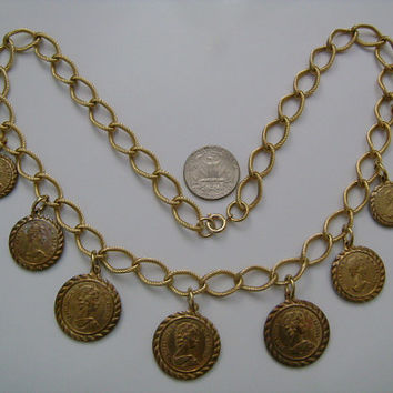 D.G. Regina Elizabeth II 1951 Saint George Riding Horse British Sovereign Replica Coins Dangling Charm Chain Reversible Necklace Gold Tone