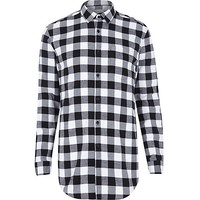 River Island MensBlack check longer length shirt