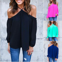 Women Clothes Halter Off shoulder Long Sleeve Sexy Top Blouse Clothes Casual Summer Women Tops