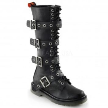 Rage 404 Women's Gothic Black Matte Lace Up Buckle Strap Below the Knee Boot - Demonia Women's Gothic Boots - Demonia Footwear