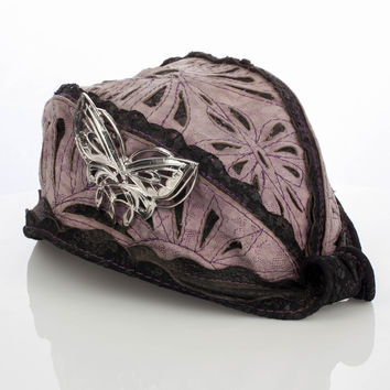 S/M REVEILLE HAT, Shimmering Lavender Filigree Leather atop Black Lace Leather, Silver Arwen Butterfly Brooch
