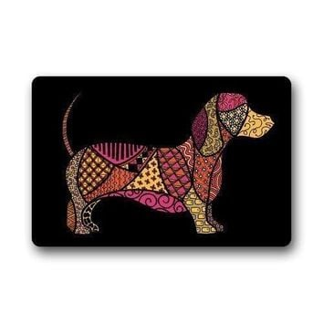Autumn Fall welcome door mat doormat Shirley's s Decorative  Custom Colorful Dachshund Indoor/Outdoor  23.6*15.7 AT_76_7