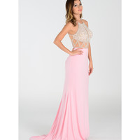 Blush Pink Sexy Halter Sheer Long Dress 2016 Prom Dresses