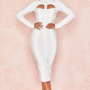 Lourelia White Cut Out Bandage Midi Dress