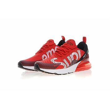 Nike Air Max 270 X Supreme Black White Red Running Shoes