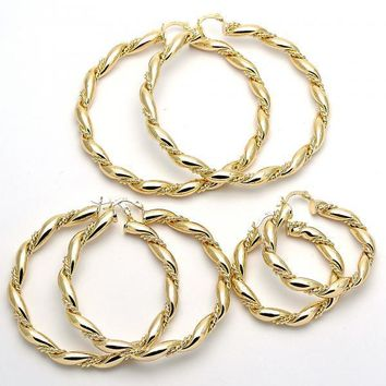 Gold Layered Extra Large Hoop, Twist Design, Golden Tone