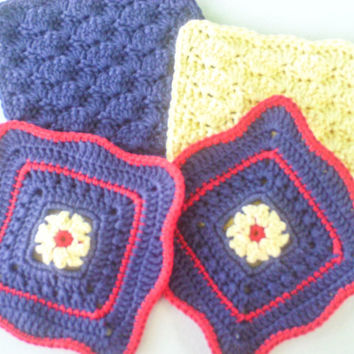 Crochet Cotton Wash Cloths - Set of 4 - Navy Blue, Yellow and Red Flower Dishcloths - Shell Washcloth