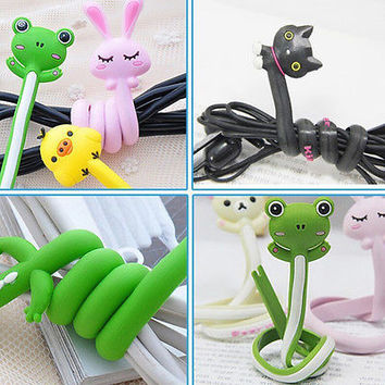 new Animal Earphone Headphone Wrap Cord Wire Cable Holder Winder Organizer LS