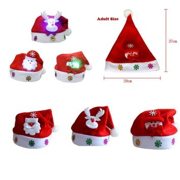 Holiday Gifts Adult LED Christmas Hat Santa Claus Reindeer Lighting