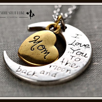 I Love You to the Moon and Back Necklace with Moon Heart Pendant + Gift Box
