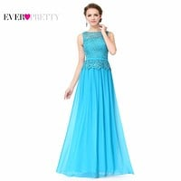 O-neck Sleeveless Prom Dresses Ever Pretty HE08904 A-line Plus Size Prom Dress Women's Elegant Prom Dresses