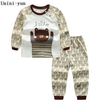 Unini-yun children's sets 2017 new autumn boys Cotton Dot brand long sleeve Bear t shirt + pants kids tracksuits for baby boy