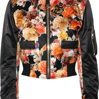 Givenchy - Cropped bomber jacket in floral-print satin