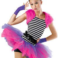 Striped Biketard with Tutu; Weissman Costumes