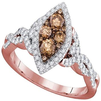 14kt Rose Gold Women's Round Brown Diamond Oval Cluster Twist Bridal Wedding Engagement Ring 7/8 Cttw - FREE Shipping (US/CAN)