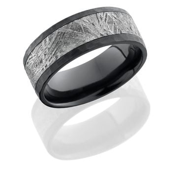 Zirconium ring hand crafted  8mm flat band with 5mm meteorite center