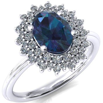 Eridanus Oval Alexandrite 4 Prong Diamond Cluster Halo Engagement Ring