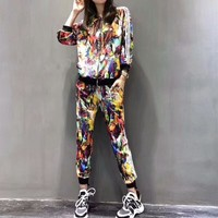 """Adidas"" Women Casual Fashion Multicolor Pattern Print Long Sleeve Zip Cardigan Coat Trousers Set Two-Piece Sportswear"