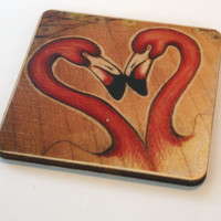 Wood Coasters for Drinks Beverage Coasters Custom Photo Coasters Pink Flamingo Tropical Housewarming Gift Rustic Wood Unique Gift Set of 4