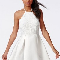 Missguided - Lace Halterneck Skater Dress White