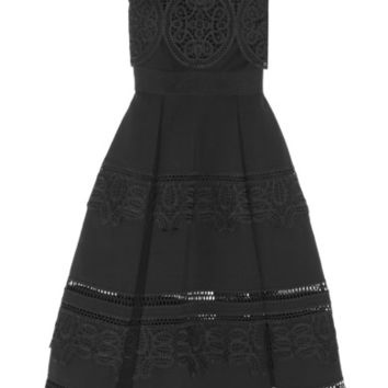 Self-Portrait - Guipure lace-paneled ponte midi dress
