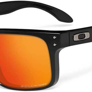 Oakley Holbrook Polarized Sunglasses-Matte Black/Ruby Iridium Mens