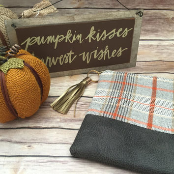 Pumpkin Plaid Clutch with Gold Tassel, Orange Plaid Clutch, Plaid Clutch, Cream Plaid Clutch