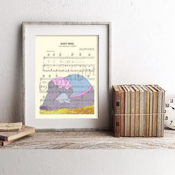 Dumbo and Mother Baby of Mine Sheet Music Art Print