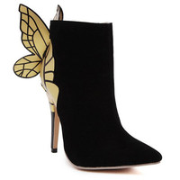 Black Ankle Boots With Pointed Toe and Butterfly Design