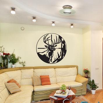 Vinyl Wall Decal Deer Scope Hunting #GFoster105