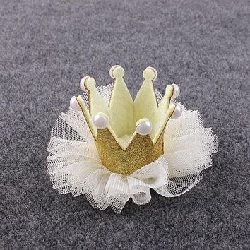 Luxury 1 PC Lovely Kids Girls Lace Crown Pearl Princess Hairpin Hair Clip Headdress Headwear Tiara Hair Accessories