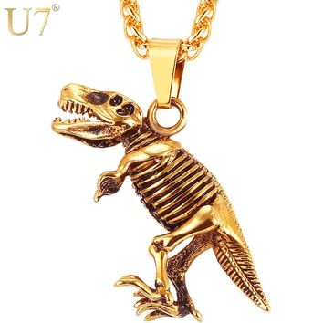 U7 Stainless Steel Tyrannosaurus Rex Pendant Necklace Gold/Black Color Dinosaur Bones Fossil Punk Animal Men Jewelry P1117