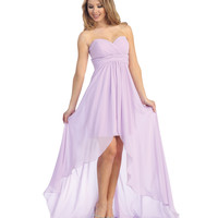 Lilac Chiffon Strapless Sweetheart Gown Prom 2015