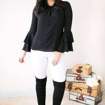 One More Try Bell Sleeve Blouse