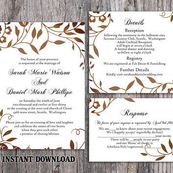 DIY Wedding Invitation Template Set Editable Word File Instant Download Printable Leaf Invitation Rustic Gold Invitation Elegant Invitation