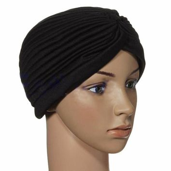 PEAPUNT Indian Cap Pleated Head Wrap Turban Stretchy Band Hat Cloche Chemo Hijab