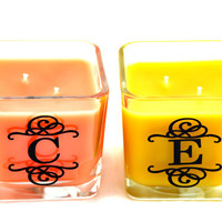 Custom Monogram Scented Candle With a Double Wick - Customize your scent and letter - Custom Vinyl Monogram - Double Wick Candle