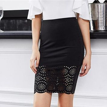 67cd63ff81ad Workwear Pencil Skirt Office Ladies Bodycon Mid Waist Above Knee