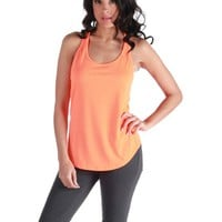 Vintage Havana Lace Up Back Tank - Orange