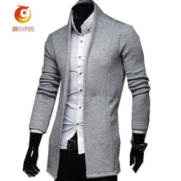 Brand Sweater Spring Autumn Fashion Men's Solid Long Thin Cardigan Sweater Body Big Size Sweaters Cardigans Plus Size S-2XL Coat