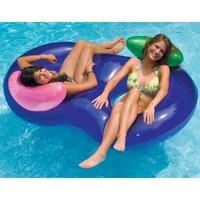 "Walmart: 76"" Water Sports Inflatable Purple Side By Side Swimming Pool Lounger Raft"