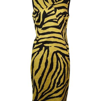 Anne Klein Women's Zebra Print Linen Cotton Sheath Dress
