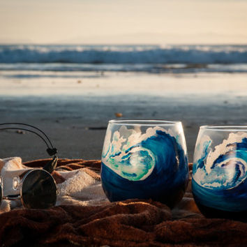 Hand Painted Wine Glasses, Red Wine Glasses, Wave, Beach, Surf, Surfing, Surfboard, Hawaii, SoCal, Cocktail, Surf Art, Unique, Two Glasses