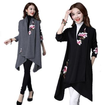 Cotton Trench Coat Women Embroidery Cardigans Spring Long Trench Coat Long Sleeve Poncho Flora Kimono Outwear Ethnic Clothing