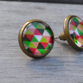 Graphic Triangle Earrings, Green, White and Pink, Antiqued Brass, Geometric Glass Earrings, Stud Earrings, Post Earrings